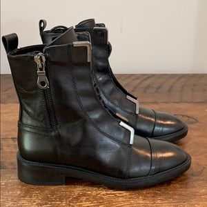 Zara Woman Black Leather Lace Up Side Zip Boots